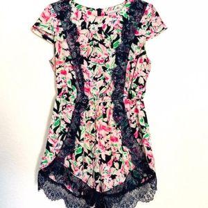 Showpony | Pink Floral Romper w/ Blue Lace Sz 12